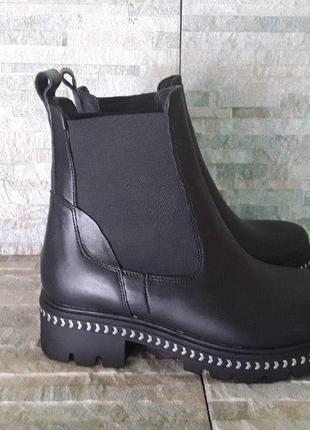 Черные зимние ботинки, черные ботинки челси, черные теплые ботинки, зимние ботинки на меху