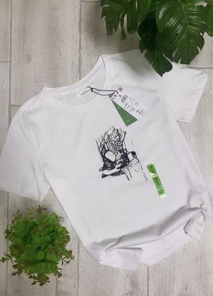 Белая хлопковая футболка с принтом