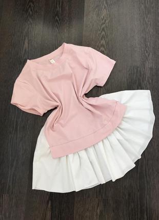 Стильная футболка блуза цвет пудра с воланом