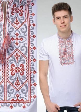 Украинская футболка вышиванка из натуральной ткани