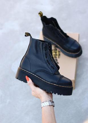 Dr. martens sinclair black zip женские ботинки без меха