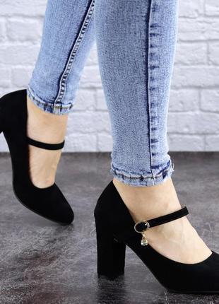 Туфли женские на каблуке черные morita 2042