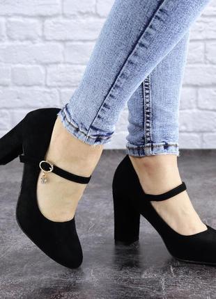 Туфли женские на каблуке черные morita 20422 фото