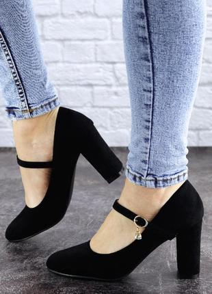 Туфли женские на каблуке черные morita 20423 фото