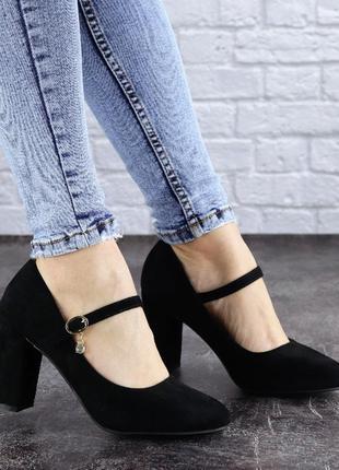 Туфли женские на каблуке черные morita 20424 фото