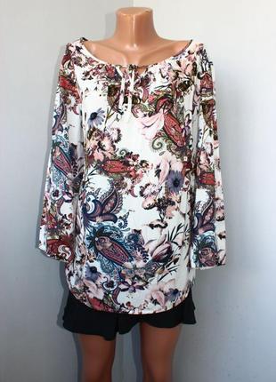 Блуза рубашка молочная в принт огурцов и полевых цветов, l