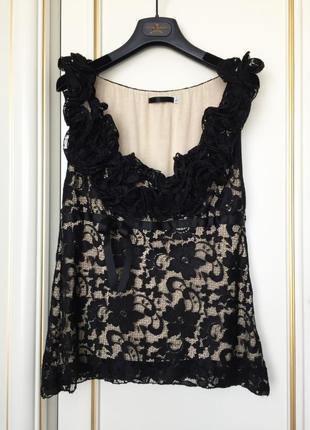 Imperial италия оригинал топ блуза черное кружево с контрастным подкладом s/m