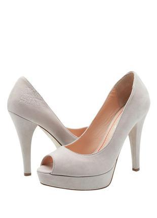 Туфли с открытым носком,босоножки серые кожа miss sixty-39p