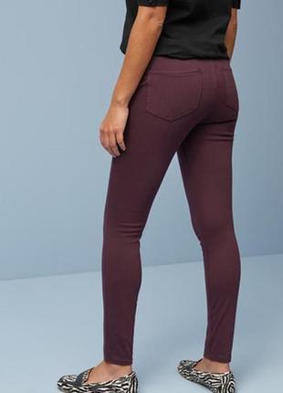 🌿1+1=3 фирменные женские узкие зауженные джинсы скинни бордо cos, размер 44 - 46