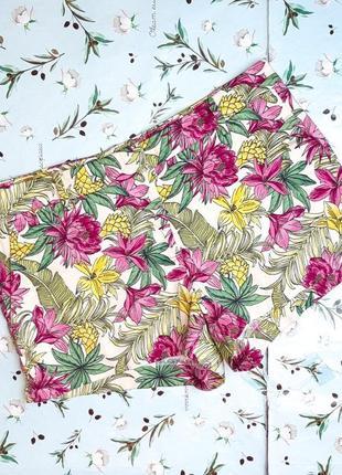 🌿1+1=3 модные короткие женские шорты h&m в цветочный принт хлопок, размер 44 - 46