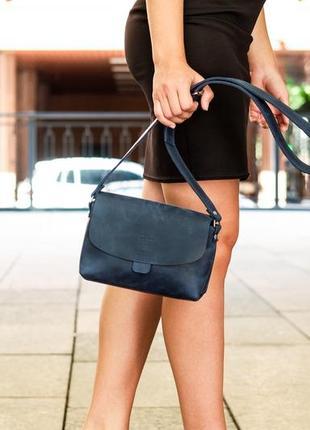 Кожаная женская сумка плечевая, жіноча сумка, вечерняя сумочка, цвет синий