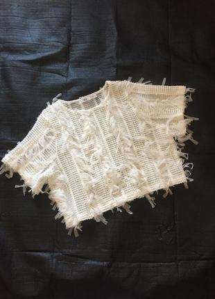 Топ блуза белая в рюши полупрозрачный zara, воздушный, бахрома