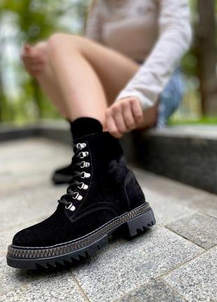 Замшевые высокие ботинки
