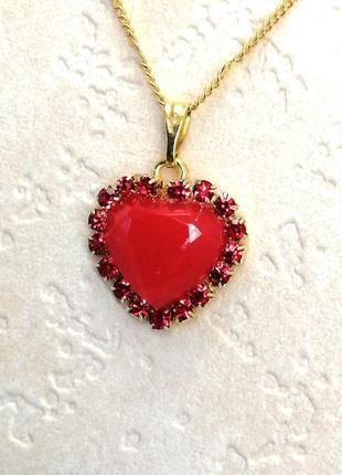 Кулон сердце с камнями