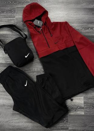 Комплект анорак president красно-черный + штаны president + в подарок барсетка
