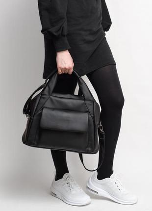 Спортивная женская черная сумка через плечо