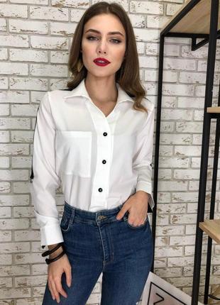 Рубашка женская белая на пуговицах s,m,l
