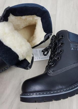 Зимние ботинки детские тимбер на натуральном меху овчине черные 28-33р7 фото