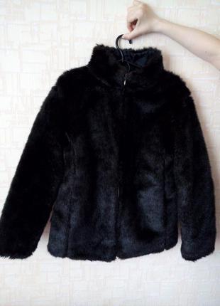 Черная шуба меховая
