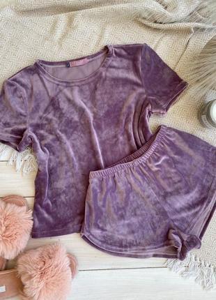 Плюшевая футболка с шортами, піжама, одяг для дому, комплект