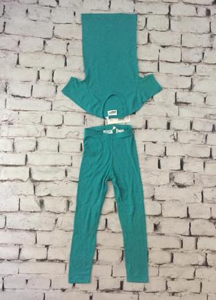 Термобелье набор штаны и футболка цвет бирюза детский комплект зима