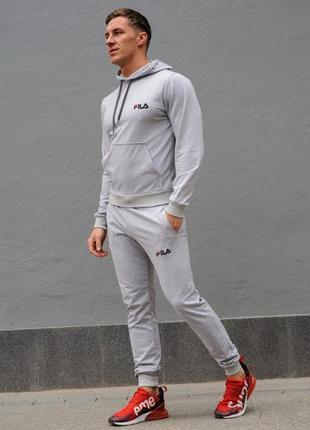 Cерый мужской спортивный костюм fila (фила)