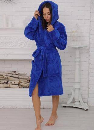 Синий электрик короткий халат с капюшоном. тёплый махровый халат короткий. хс-хл