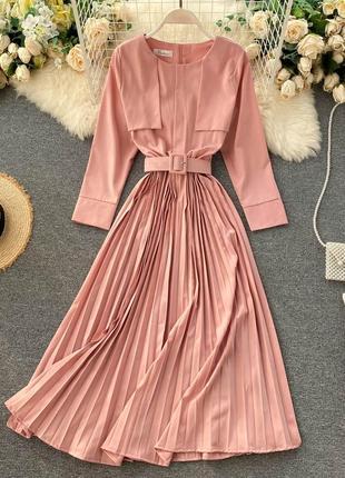 Платье-плиссе на пояс персикового цвета, длинное платье-блуза нежно-розового цвета