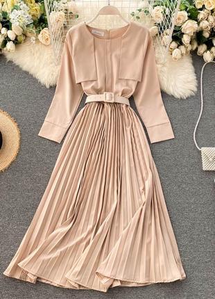 Молочное платье-плиссе с длинным рукавом и квадратным поясом, бежевое платье макси