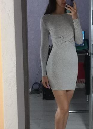 Платье базовое серое
