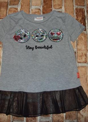 Нарядная футболка туника девочке 11 - 12 лет1 фото