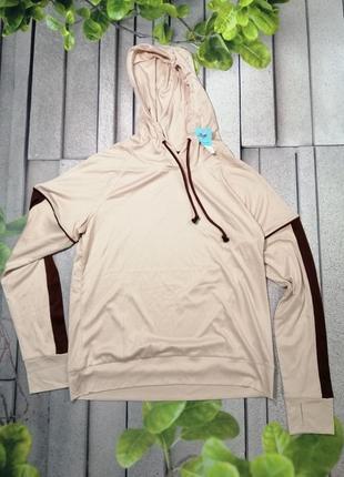 Модная спортивная кофточка лонгслив с капюшоном пудровая
