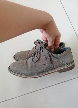 Школьные туфли  некст, серая замша