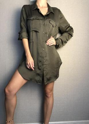 Платье рубашка зелёная