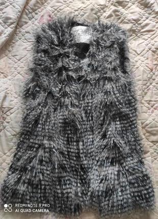Суперская меховая жилетка под енота, экомех4 фото
