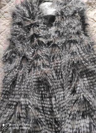 Суперская меховая жилетка под енота, экомех7 фото