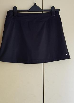 Спортивна чорна тенісна спідниця -шорти nike  dri fit  теніс фітнес спорт танці тренування
