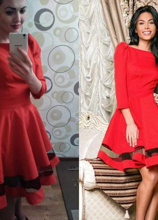 Красное платье а-силуэт