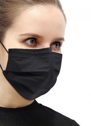 Медицинская маска черная защитная трехслойная с фиксатором фабричная 100 шт