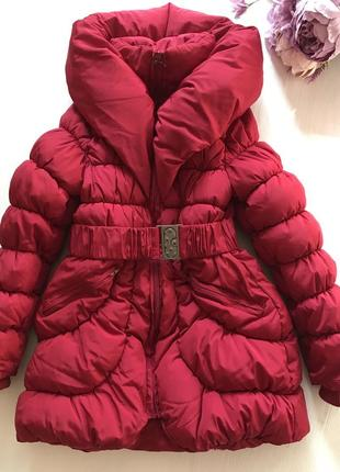 Очень тёплая зимняя удлиненная куртка пальто пуховик 8-10 лет1 фото