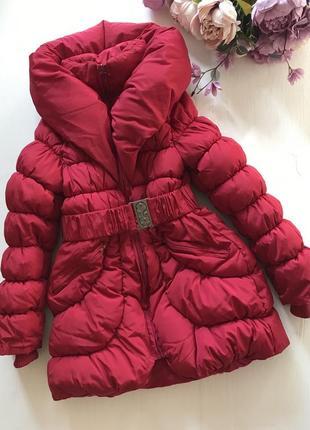 Очень тёплая зимняя удлиненная куртка пальто пуховик 8-10 лет2 фото