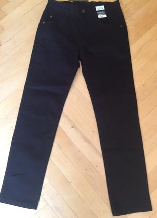 Чорні штани стрейч котон для хлопчика, ріст 152-1581 фото