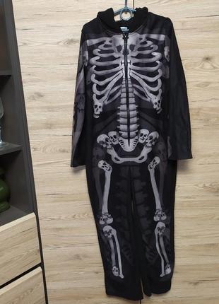 Детский флисовый костюм, кигуруми, пижама скелета на 9-10 лет на хеллоуин1 фото