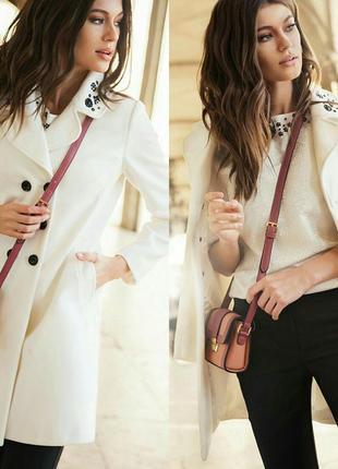Стильное классическое демисезонное женское пальто черное белое  love republic