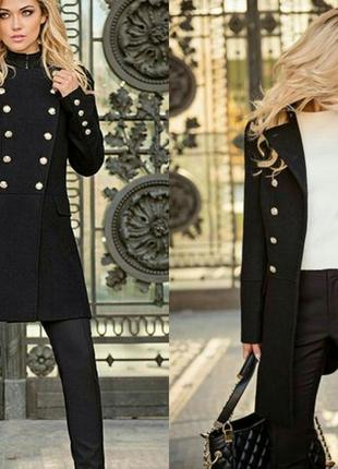 Чёрное шерстяное пальто love republic