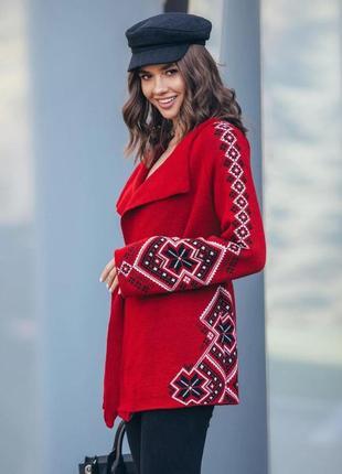 Жакет с поясом кофта красная с орнаментом украина