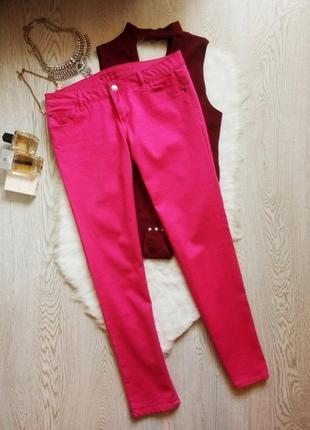 Розовые цветные яркие плотные джинсы скинни узкачи малиновые батал большой размер