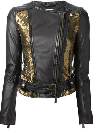 Шикарная кожаная куртка премиум бренда pinko! оригинал!!