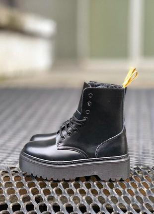 Dr. martens jadon all black шикарные ботинки унисекс на меху