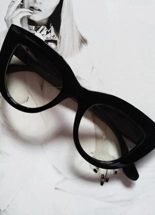 Очки в стиле кошачий глаз имиджевые чёрный
